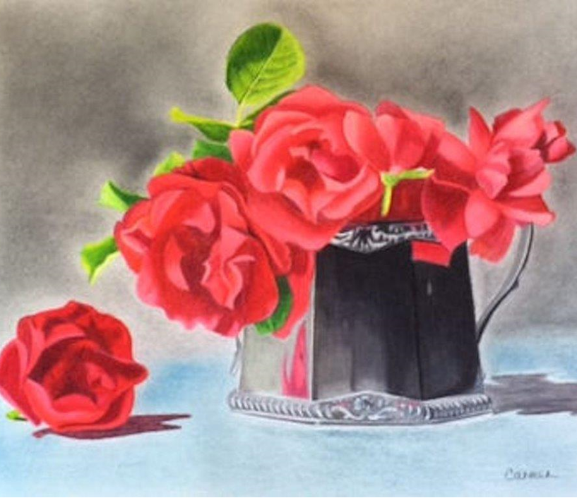 Silver Pot with Roses