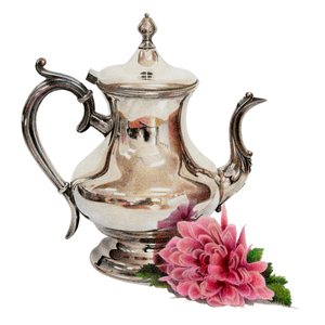 364 SILVER TEAPOT AND CHRYSANTHEMUM