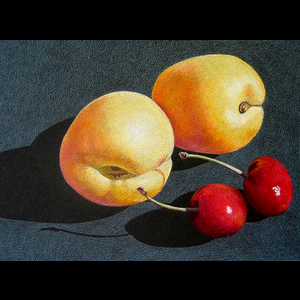 264 APRICOTS & CHERRIES ON BLACK